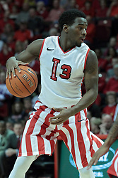 15 February 2014:  Daishon Knight is held outside by Walt Lemon, Jr. during an NCAA Missouri Valley Conference (MVC) mens basketball game between the Bradley Braves and the Illinois State Redbirds  in Redbird Arena, Normal IL.