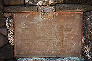 Historic plaque at the Hulihee Palace, Kailua-Kona, Hawaii