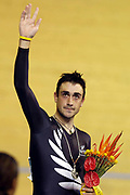 New Zealand cyclist Hayden Roulston wins silver in the Men's Points Race during the XVIII Commonwealth Games, at the Multi Purpose Arena, Melbourne, Australia, on Friday 17 March, 2006. Photo: Sport the Library / www.photosport.nz