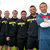 St Johnstone pre-season training....24.06.11<br /> Derek McInnes with new signings, from right, Callum Davidson, Sean Higgins, David Robertson, Frazer Wright and David McCracken.<br /> see story by Gordon Bannerman Tel: 07729 865788<br /> Picture by Graeme Hart.<br /> Copyright Perthshire Picture Agency<br /> Tel: 01738 623350  Mobile: 07990 594431