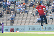 Shane Snater of Essex attempts to stop a ball off his own bowling during the Royal London One Day Cup match between Hampshire County Cricket Club and Essex County Cricket Club at the Ageas Bowl, Southampton, United Kingdom on 23 May 2018. Picture by Dave Vokes.