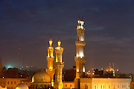 Egypt. Cairo elevated view.  - Al azhar mosque and in the background Muhammad Ali mosque and citadel.  In old islamic Cairo  Cairo