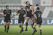 Alex Jeffries of the Ospreys during the Anglo Welsh Cup match between Ospreys and Wasps at The Liberty Stadium, Swansea, Wales on 10 November 2017. Photo by Andrew Lewis.