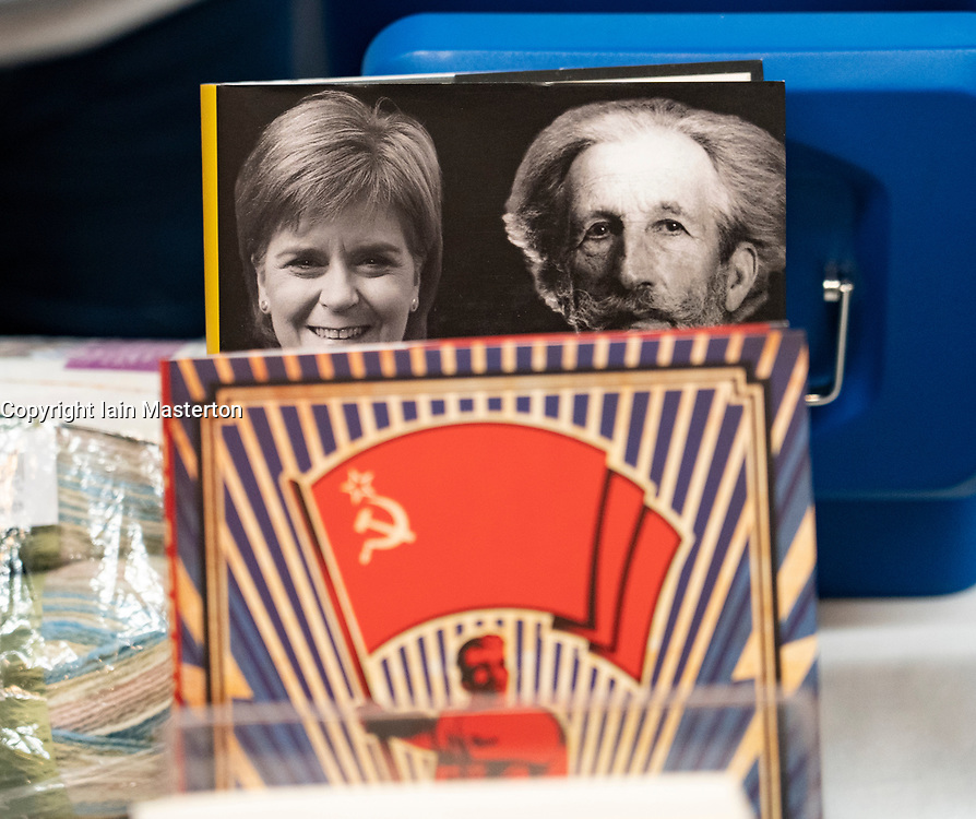 Edinburgh, Scotland, UK. 28 April, 2019. Day 2 of thee SNP ( Scottish National Party) Spring Conference takes place at the EICC ( Edinburgh International Conference Centre) in Edinburgh. Pictured; Independence based books for sale at book stall in conference