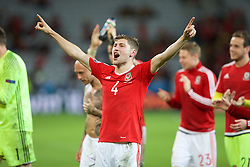 LILLE, FRANCE - Friday, July 1, 2016: Wales' Ben Davies celebrates the 3-1 victory over Belgium at full time after the UEFA Euro 2016 Championship Quarter-Final match at the Stade Pierre Mauroy. (Pic by Paul Greenwood/Propaganda)