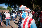 A USA fan at Occidental Park before the march to the match leading up to the USA vs. Panama Men's Soccer - FIFA World Cup qualifying match between the USA and Panama Tuesday, June 11, 2013 at CenturyLink Field in Seattle, WA.