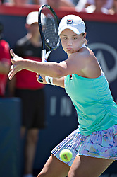 MONTREAL, Aug. 12, 2018  Ashleigh Barty of Australia returns the ball to Simona Halep of Romania during the semifinal match of women's singles at the 2018 Rogers Cup in Montreal, Aug. 11, 2018. Ashleigh Barty lost 0-2. (Credit Image: © Andrew Soong/Xinhua via ZUMA Wire)