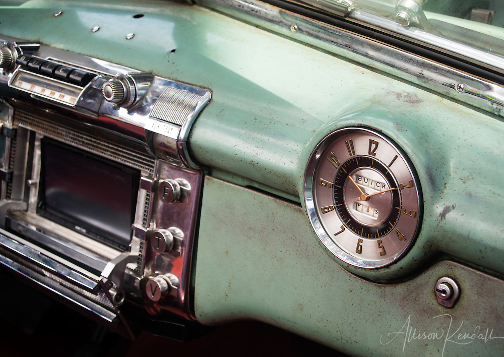 Detail of a vintage Buick, seen at the Carmel-by-the-Sea Concours on the Avenue event during Monterey Car Week