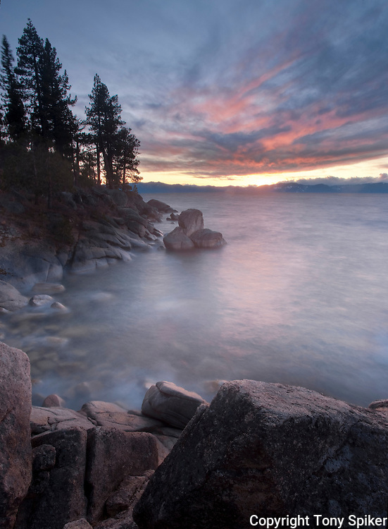 """""""East Shore Sunset 1"""" - The sun sets over Lake Tahoe while waves roll in near Secret Harbor"""