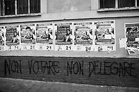 """ROME, ITALY - 22 FEBRUARY 2013: <br /> <br />  in Rome, on February 22, 2013.<br /> <br /> A general election to determine the 630 members of the Chamber of Deputies and the 315 elective members of the Senate, the two houses of the Italian parliament, will take place on 24–25 February 2013. The main candidates running for Prime Minister are Pierluigi Bersani (leader of the centre-left coalition """"Italy. Common Good""""), former PM Mario Monti (leader of the centrist coalition """"With Monti for Italy"""") and former PM Silvio Berlusconi (leader of the centre-right coalition).<br /> <br /> ###<br /> <br /> ROMA, ITALIA -22 FEBBRAIO 2013: <br /> <br /> a Roma, il 22 febbraio 2013.<br /> <br /> Le elezioni politiche italiane del 2013 per il rinnovo dei due rami del Parlamento italiano – la Camera dei deputati e il Senato della Repubblica – si terranno domenica 24 e lunedì 25 febbraio 2013 a seguito dello scioglimento anticipato delle Camere avvenuto il 22 dicembre 2012, quattro mesi prima della conclusione naturale della XVI Legislatura. I principali candidate per la Presidenza del Consiglio sono Pierluigi Bersani (leader della coalizione di centro-sinistra """"Italia. Bene Comune""""), il premier uscente Mario Monti (leader della coalizione di centro """"Con Monti per l'Italia"""") e l'ex-premier Silvio Berlusconi (leader della coalizione di centro-destra)."""