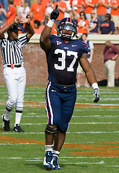 Virginia running back Cedric Peerman (37) celebrates after a first down against ECU.  The Virginia Cavaliers defeated the East Carolina Pirates 35-20 in NCAA football at Scott Stadium on the Grounds of the University of Virginia in Charlottesville, VA on October 11, 2008.