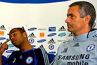 Photo: Alan Crowhurst.<br />Chelsea Press Conference. 08/09/2006. Ashley Cole (L) with Jose Mourinho at the unvieling of the player.