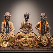 Jiali Zhen Xing Temple Mud Statue Trio