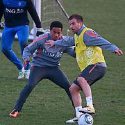 NLD/Katwijk/20110321 - Training Nederlandse Elftal Hongarije - NLD,Urby emanuelson en Raphale van der Vaart in duel
