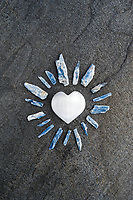 Selenite Heart with Kyanite. Still Life Photography.
