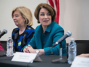 04 MAY 2019 - DES MOINES, IOWA: US Senator AMY KLOBUCHAR (D-MN), right, participates in a roundtable discussion of substance abuse and addiction on the Drake University campus Saturday. Sen. Klobuchar has made fighting substance abuse and addiction a cornerstone of her campaign. Sen. Klobuchar is touring Iowa Saturday to support her bid for the Democratic nomination of for the US Presidency in the 2020 election. Iowa traditionally hosts the the first election event of the presidential election cycle. The Iowa Caucuses will be on Feb. 3, 2020.      PHOTO BY JACK KURTZ