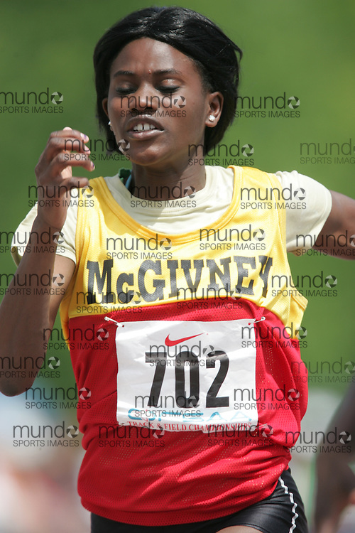 (London, Ontario}---04 June 2010) Jerelle Jones of Fr. Michael McGivney - Markham competing in the 100 meters at the 2010 OFSAA Ontario High School Track and Field Championships. Photograph copyright Sean Burges / Mundo Sport Images, 2010.