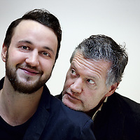 Nederland, Amsterdam , 13 januari 2014.<br /> Acteur, regisseur Porgy Franssen en zijn zoon Woolf.<br /> Foto:Jean-Pierre Jans