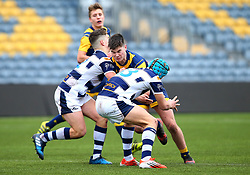Paul Wells (Warriors AASE/Worcester Sixth Form College) of Worcester Warriors Under 18s is tackled - Mandatory by-line: Robbie Stephenson/JMP - 14/01/2018 - RUGBY - Sixways Stadium - Worcester, England - Worcester Warriors Under 18s v Yorkshire Carnegie Under 18s - Premiership Rugby U18 Academy