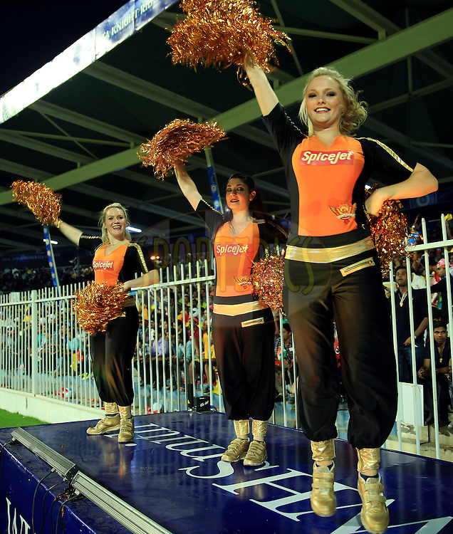 Cheer Girls of Sunrisers Hyderabad during match 17 of the Pepsi Indian Premier League 2014 between the Sunrisers Hyderabad and the Chennai Superkings held at the Sharjah Cricket Stadium, Sharjah, United Arab Emirates on the 27th April 2014<br /> <br /> Photo by Sandeep Shetty / IPL / SPORTZPICS