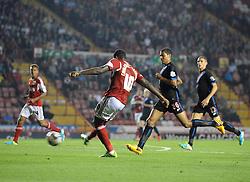 Bristol City's Jay Emmanuel-Thomas scores the opening goal of the game.  - Photo mandatory by-line: Dougie Allward/JMP - Tel: Mobile: 07966 386802 27/08/2013 - SPORT - FOOTBALL - Ashton Gate - Bristol - Bristol City V Crystal Palace -  Capital One Cup - Round 2