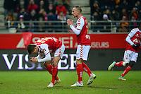 Deception Nicolas DE PREVILLE / Gaetan COURTET  - 25.01.2015 - Reims / Lens  - 22eme journee de Ligue1<br />Photo : Dave Winter / Icon Sport