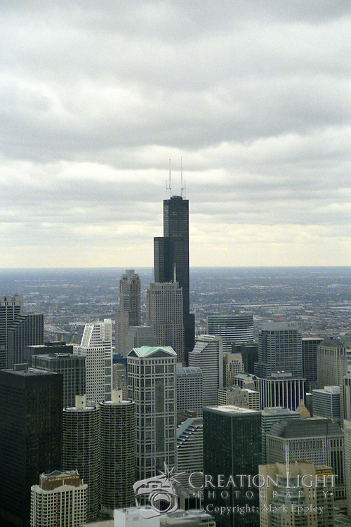 The Sears Tower, now Willis Tower, dominates the Chicago skyline.