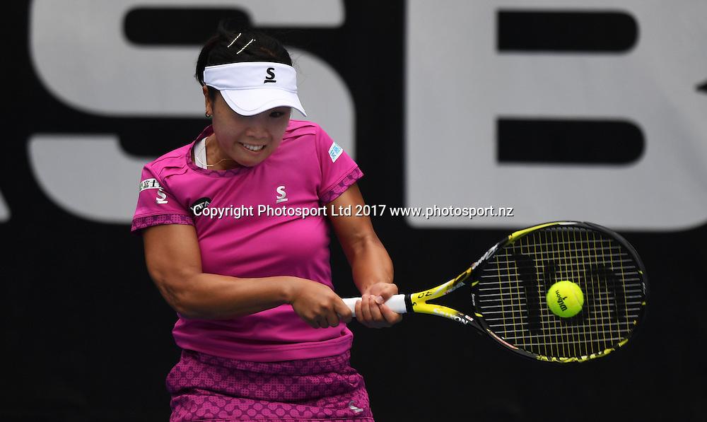 Japan's Kurumi Nara during her singles match on the opening day of the ASB Classic. WTA Womens Tournament. ASB Tennis Centre, Auckland, New Zealand. Monday 2 January 2017. © Copyright photo: Andrew Cornaga / www.photosport.nz