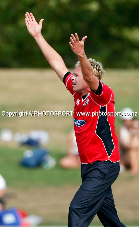 Canterbury's Mitchell Claydon appeals for an LBW. Canterbury Wizards v Auckland Aces in the One Day Competition, Preliminary Semi Final. QEII Park, Christchurch, New Zealand. Sunday, 06 February 2011. Joseph Johnson / PHOTOSPORT.