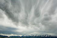 Bridger Mountains, storm clouds, west of Wilsall, Montana
