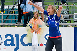 Simona Fabjan of Slovenia celebrating at CEV European Continental Beach Volleyball Cup for Olympic Qualification, on September 4, 2010, in Zrece, Slovenia. (Photo by Matic Klansek Velej / Sportida)