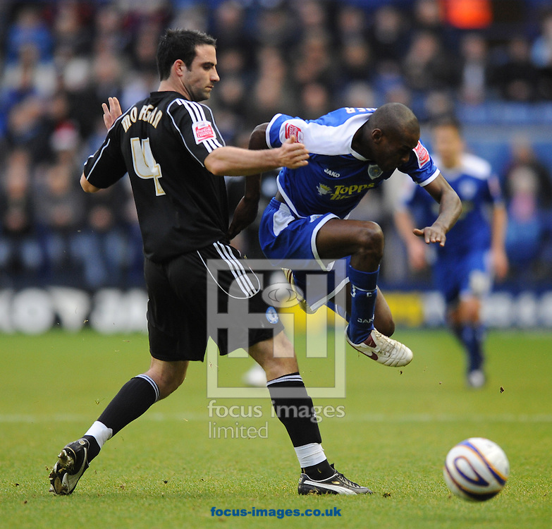 Leicester - Saturday December 22th, 2008: Lloyd Dyer of Leicester City and Craig Morgan of Peterborough United during the Coca Cola League One match at The Walkers Stadium, Leciester. (Pic by Alex Broadway/Focus Images)