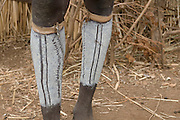 Coloured legs from a Dasanech tribal man, Omovalley, Ethiopia,Africa