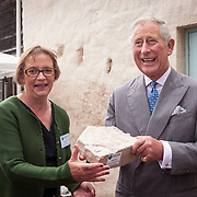 Prince of Wales, Prince Charles visits the Scottish Lime Centre Trust, Charlestown, Fife. SLCT Director, Roz Artis, presents HRH with a carved sandstone wild boar. 08 Sep 2017. Charlestown. Credit: Photo by Tina Norris. Copyright photograph by Tina Norris. Not to be archived and reproduced without prior permission and payment. Contact Tina on 07775 593 830 info@tinanorris.co.uk  <br /> www.tinanorris.co.uk