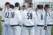 James Vince delivers his last minute team talk ahead the Specsavers County Champ Div 1 match between Hampshire County Cricket Club and Middlesex County Cricket Club at the Ageas Bowl, Southampton, United Kingdom on 14 April 2017. Photo by David Vokes.