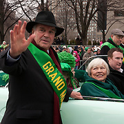 Chicago Mayor Richard M. Daley and his wife Maggie are the Grand Marshals of the 56th Annual St. Patrick's Day Parade on Columbus Drive. <br />