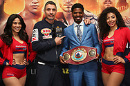 March 6, 2019; New York, NY, USA; WBO super lightweight champion Maurice Hooker poses after the final press conference for the March 9, 2019 fight card at the Turning Stone Resort and Casino in Verona, NY.  Mandatory Credit: Ed Mulholland/Matchroom Boxing USA