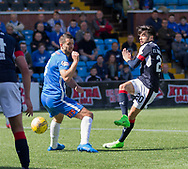 Dundee&rsquo;s Faissal El Bakhtaoui and Kilmarnock&rsquo;s Gary Dicker- Kilmarnock v Dundee in the Ladbrokes Scottish Premiership at Rugby Park, Kilmarnock, Photo: David Young<br /> <br />  - &copy; David Young - www.davidyoungphoto.co.uk - email: davidyoungphoto@gmail.com