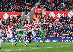 STOKE-ON-TRENT, ENGLAND - Saturday, April 30, 2016: Sunderland's Jermain Defoe shoots over the Stoke City goal during the FA Premier League match at the Britannia Stadium. (Pic by David Rawcliffe/Propaganda)