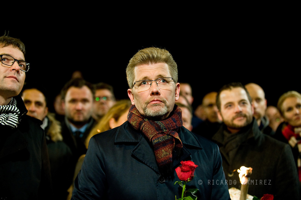 16.02.2015. Copenhagen, Denmark.<br /> Copenhagen Lord Mayor Frank Jensen attended a memorial rally for the victims and those injured in the attacks respectively Krudttønden and synagogue in Copenhagen.<br /> Photo: © Ricardo Ramirez