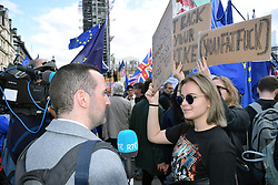 RTE journalist interviewing protester, Brexit People's Vote march, London 19 October 2019 UK