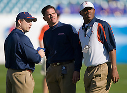 Members of the Virginia coaching staff before the Gator Bowl.  The Texas Tech Red Raiders defeated the Virginia Cavaliers 31-28 in the 2008 Konica Menolta Gator Bowl held at the Jacksonville Municipal Stadium in Jacksonville, FL on January 1, 2008.