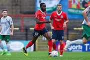 Adriano Moke of York City (16) in action during the Vanarama National League match between York City and Blyth Spartans at Bootham Crescent, York, England on 27 August 2018.