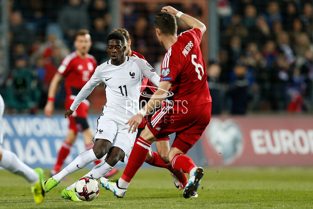 France's forward Ousmane Dembele vies during the FIFA World Cup 2018 qualifying football match, Group A, between Luxembourg and France on March 25, 2017 at Josy Barthel stadium in Luxembourg - Photo Benjamin Cremel / ProSportsImages / DPPI