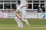 Chris Wright bowling during the Specsavers County Champ Div 2 match between Leicestershire County Cricket Club and Derbyshire County Cricket Club at the Fischer County Ground, Grace Road, Leicester, United Kingdom on 28 May 2019.