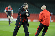 Wales rugby coach Robert Howley shows that he is ready for the fight as his side prepare to play Samoa on Friday. Wales rugby team training at the Millennium stadium,  Cardiff in South Wales on Thursday 15th November 2012.  pic by Andrew Orchard, Andrew Orchard sports photography,