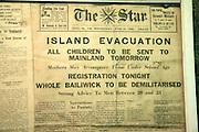 The Star newspaper island Evacuation June 1940, German Underground Military hospital, Guernsey, Channel Islands, UK