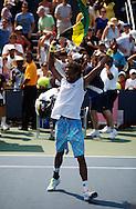 US Open 2010, USTA Billie Jean National Tennis Center, New York,.ITF Grand Slam Tennis Tournament . Dustin Brown (JAM) jubelt und schwengt die Fahne von Jamaika,Emotion