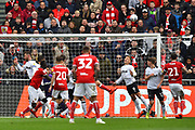 Martyn Waghorn (9) of Derby County heads the ball off the line during the EFL Sky Bet Championship match between Bristol City and Derby County at Ashton Gate, Bristol, England on 27 April 2019.