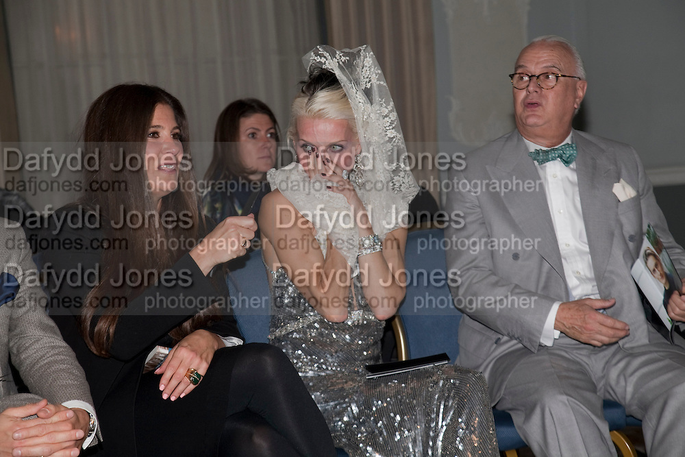 AMONGST THE JUDGES- ELIZABETH SALTZMAN; DAPHNE GUINNESS; MANOLO BLAHNIK, The Dorchester Collection fashion prize.  Dorchester Hotel. London. 19 October 2010. ends at 8 p.m. competition. rsvp's to Jackie-DO NOT ARCHIVE-© Copyright Photograph by Dafydd Jones. 248 Clapham Rd. London SW9 0PZ. Tel 0207 820 0771. www.dafjones.com.